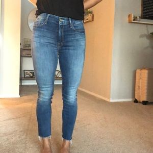 Mother Denim high waisted jeans looker ankle fray